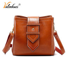 ValenKuci Vintage Crossbody Bags for Women 2018 High Quality Oil Wax Leather Bucket Bag Women Anti-theft Messenger Shoulder Bags(China)
