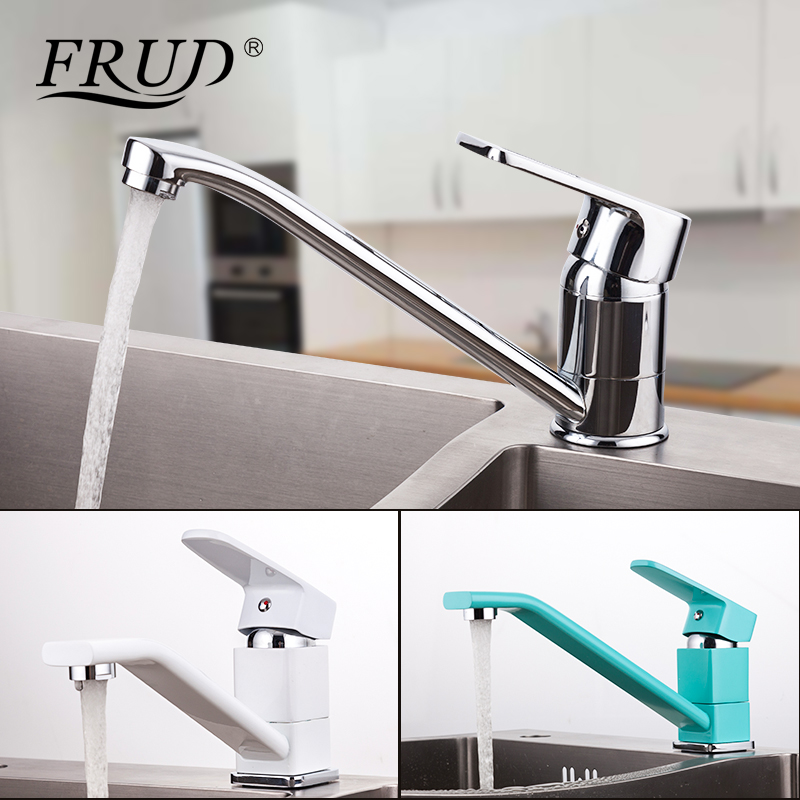 FRUD Kitchen Water Tap Single Handle Kitchen Faucet Mixer Cold And Hot Water Kitchen Tap Spray Painting Water Tap Torneir R45301