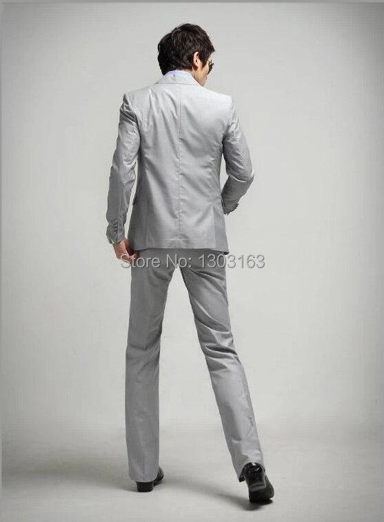 2016 mode gris hommes costume simple boutonnage 1 bouton Slim Fit costume de mariage (costume + pantalon + cravate) gris clair livraison gratuite - 5
