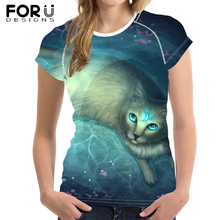 FORUDESIGNS Blue Moon Cat Printed T-Shirt for Women Cool Customize Picture Short Sleeve Tee Tops Female Casual Summer Tshirt