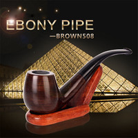 High Quality Handmade Smoking Accessory Polished Solid Wood Ebony Bent Tobacco Pipe Cigarette Filter Pipe Tool Creative Gift