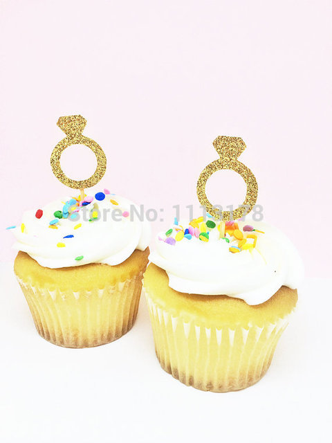 gold diamond ring glitter cupcake toppers bridal shower cupcake toppers wedding cupcake toppers wedding engagement
