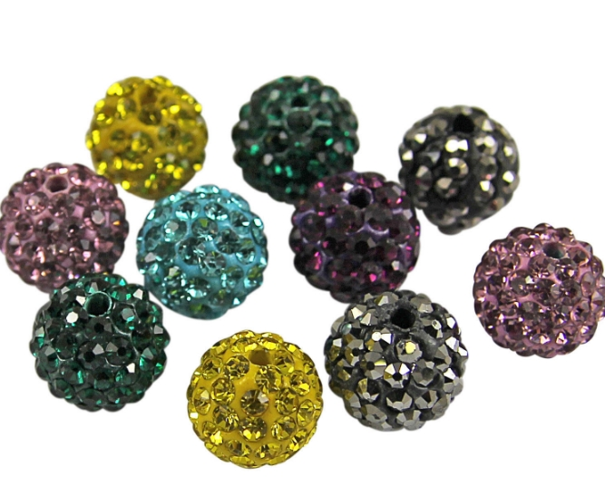 Beads & Jewelry Making Jewelry & Accessories 10mm 100pcs/lot Hot Mixed Color White Purple Blue Black Rhinestone Crystal Beads Bracelet Necklace Diy S463 Good Taste