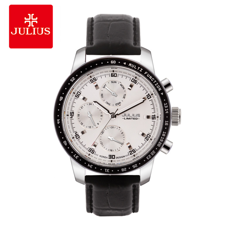JULIUS Luxury Watch Men Limited Edition 3 dials Multi-function Leather Strap Steel Waterproof Whatch Freeship Top Brand JAL-036 luxury swiss auto tourbillon mens multi function watch black freeship