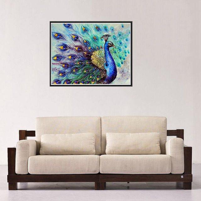 3e0880eb65 5D Diamond Painting New Arrival Peacocks Round Diamond Flaunting Its Tail  DIY Paintings Craft Kit Home Decor For Living Room