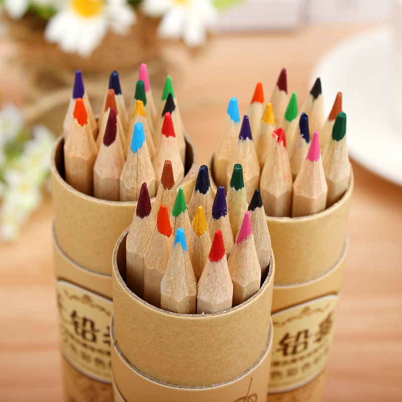 Small Tree 12 Colors/box Tube Full Color Pencil Students Cartoon Creative Pencil Lead Poison Pencil Grease Pencil Erase Pencil
