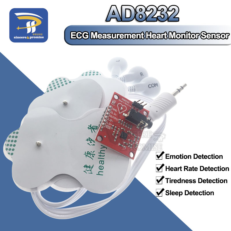 AD8232 ECG Physiological Measurement Heart Pulse Single Lead Heart RateMonitor Sensor Module For Arduino UNO R3 Diy Kit