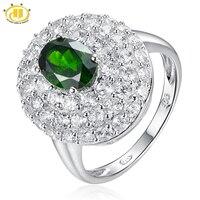 Hutang 4.43ct Природный хромдиопсид кольца Твердые стерлингового серебра 925 драгоценный камень акценты Fine Jewelry Для женщин подарок на день рождени