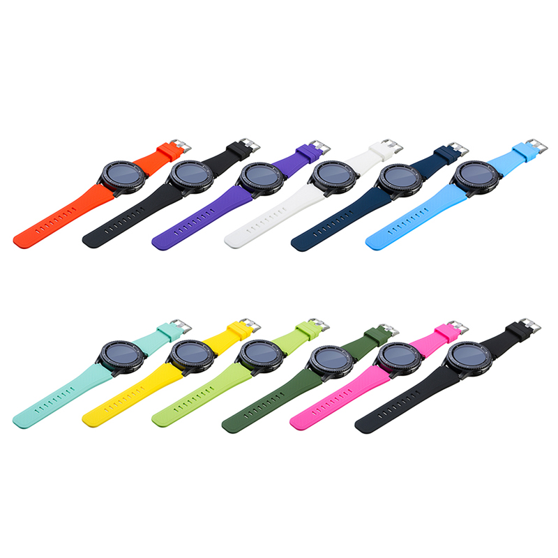 1 Pair Silicone Bracelet Strap Watch Band For Samsung Gear S3 Frontier Classic L Size 11 Pure Colors in Watchbands from Watches