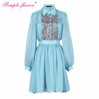 simple flavor new dress for women dress sale spring long sleeve chiffon dress vintage women clothes women's casual dresses