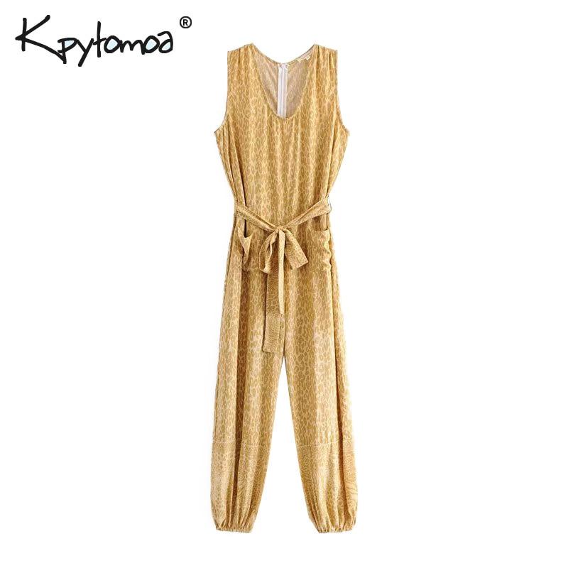 Boho Chic Summer Vintage Leopard Print   Jumpsuits   Women 2019 Fashion O Neck Split Lace Up Ladies Rompers Calf Pants Body Femme