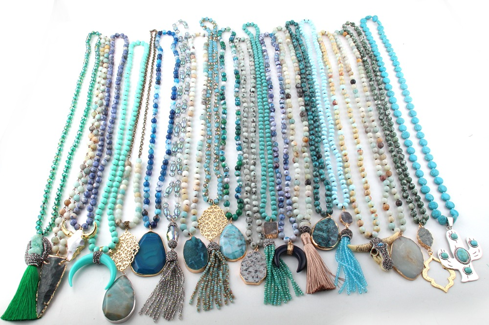 Takı ve Aksesuarları'ten Sallantılı kolye'de Toptan Moda 20 adet Mix Renk Mavi Yeşil Kolye El Yapımı Kadınlar Takı'da  Grup 2