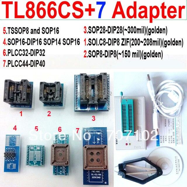 Tl866cs programador 7 adaptadores PLCC extractor TL866 TL866CS PIC Bios 51 MCU EPROM programador Manual russo inglês