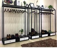Clothing store hanger display stand floor standing men and women loading shelves with cabinet display rack side hanging in the i