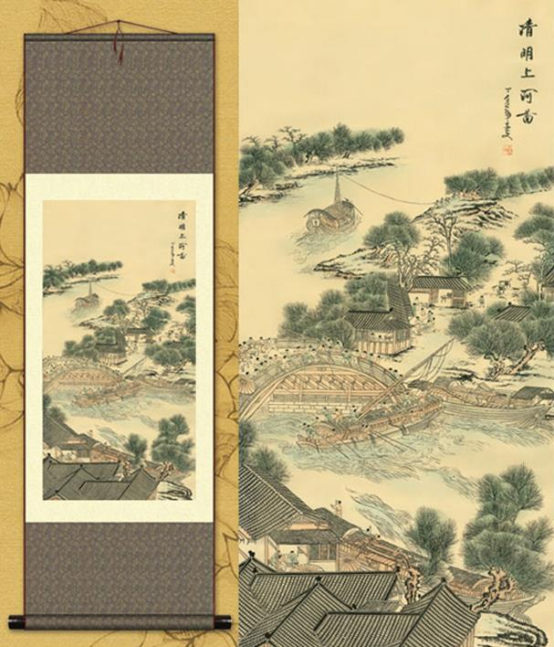 Chinese Traditional Painting Handmade Beautiful Riverside Scene at Qingming Festival <font><b>Elegance</b></font> High-end Silk <font><b>Home</b></font> <font><b>Decoration</b></font>