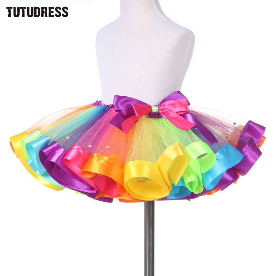 Baby Girls Rainbow Tutu Skirt Kids Tulle Skirt Children Baby Tutus Dancing Pettiskirt Cute Dancewear Princess Ballet Skirt 1-13Y