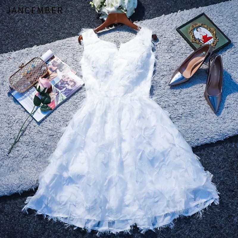 JANCEMBER 2019 Summer Latest Cocktail Dresses Shoulder Sleeveless Scoop Neck Zipper Back Lace Feather Simple платья коктельные