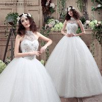 White Ivory Ball Gown Wedding Dresses Plus Size 2018 Robe De Mariage High Neck Sheer Corset Back Bridal Gowns Dress China