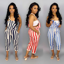 2019 New Arrival Spring And Summer European American Sexy Womens Cute Street Stripe Drawstring Jumpsuit