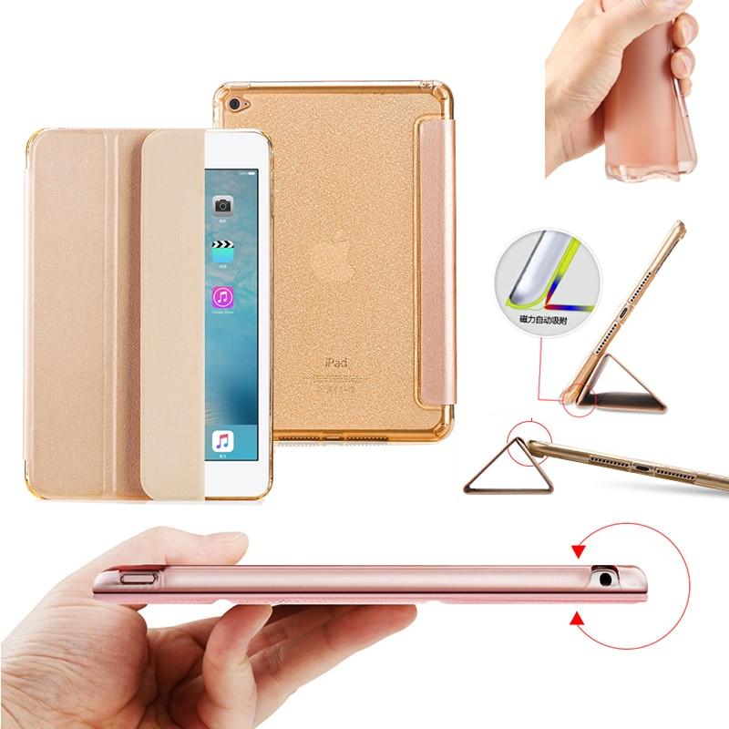 Trevligt, flexibelt TPU PU läderfodral för äpple ipad mini 4 täcka smal tunn flip mjukt silikonskyddande magneti smart case skin