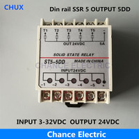 5DD 5 Channel Din Rail SSR Quintuplicate Five Input Output 24VDC Single Phase DC Solid State