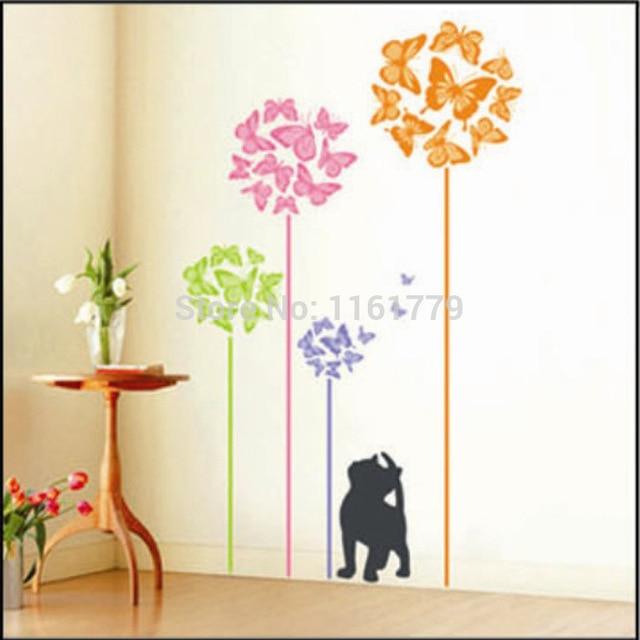 Cat Wall Art online shop butterfly flower tree cat wall stickers decal girls