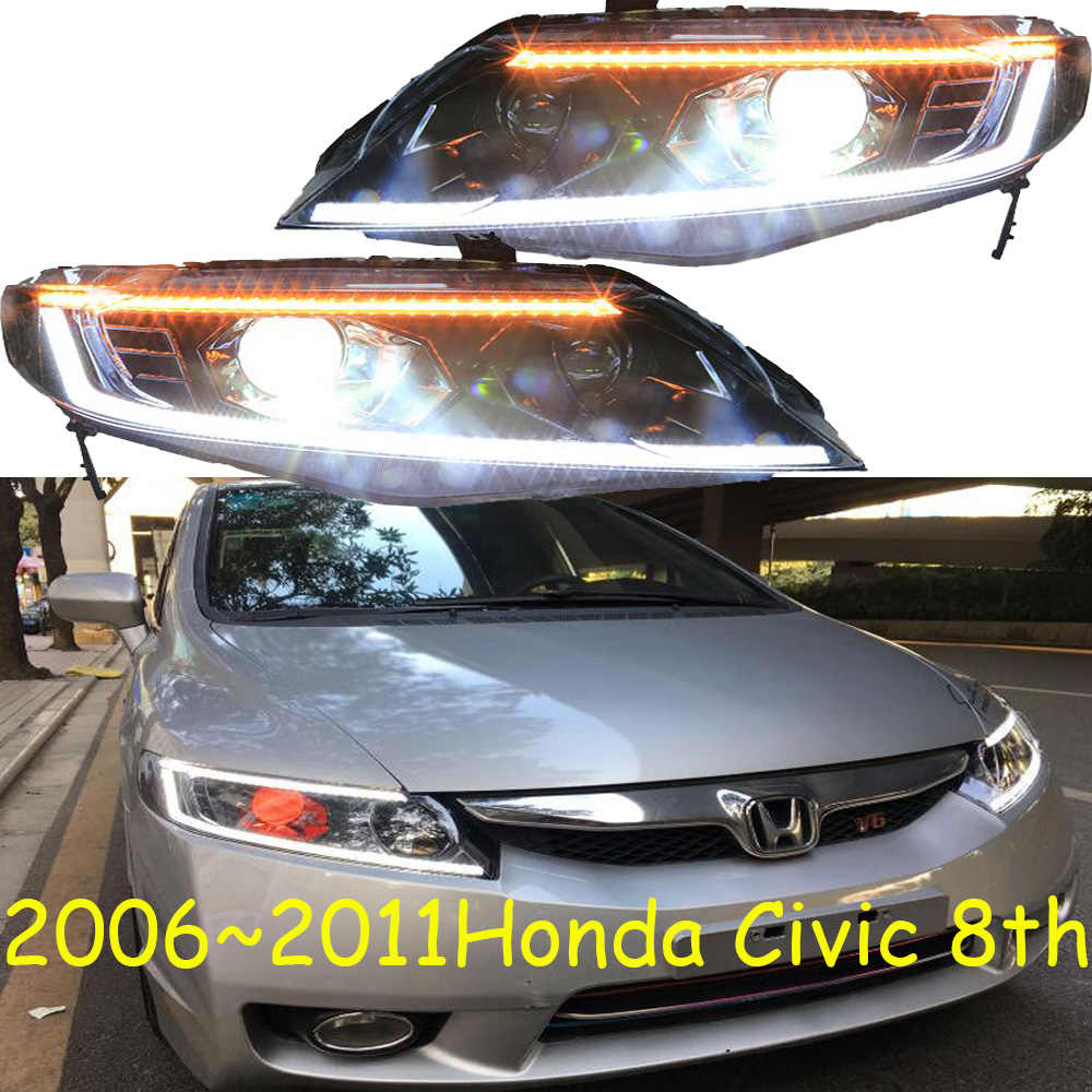 Video Cars Styling Headlights For Civic 8th Headlight Drl