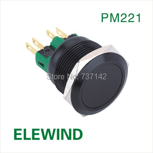 ELEWIND 22mm Black aluminum Latching push button switch(PM221F-11Z/A) free shipping 22mm aluminum emergency stop switch push button switch latching 2no 2nc car button pin terminal 22jt l s 2k2b