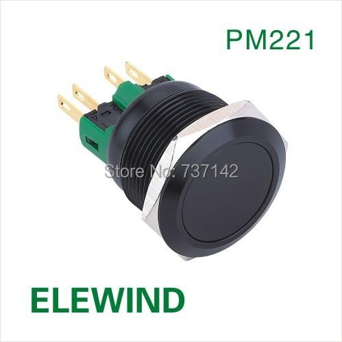 ELEWIND 22mm Black aluminum Latching push button switch(PM221F-11Z/A) 1 x 16mm od led ring illuminated latching push button switch 2no 2nc