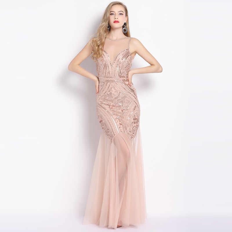 43e89ff5adcab33 Новинка 2019 года для женщин пикантные Вечерние платья из тюля Русалка  Длинные squins ткань Иллюзия Пром