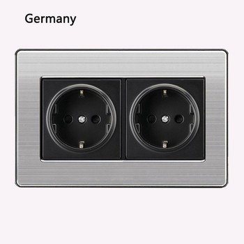 86 type LED random point USB switch mirror acrylic  household  stainless steel  brushed panel 4 Gang 2 Way switch Socket German 18