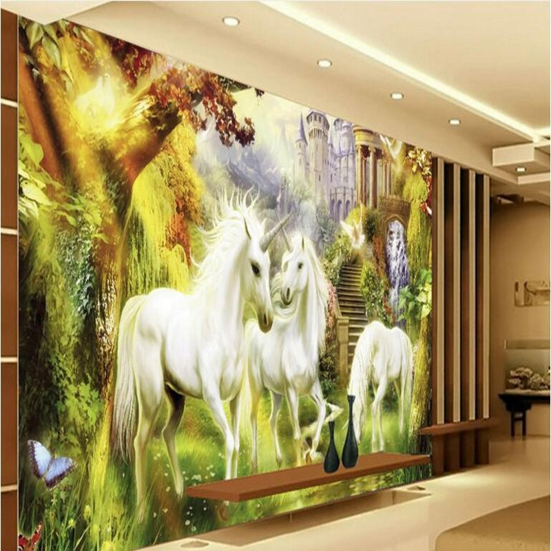 unicorn landscape background wall bedroom painting oil decoration custom living beibehang zoom wallpapers aliexpress