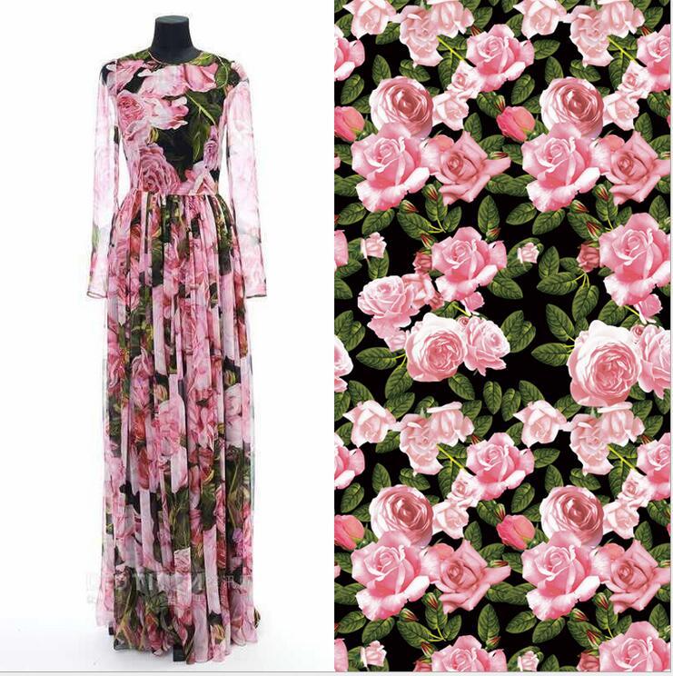 1 meter big rose flowers digital printed thick brocade jacquard cotton  fabric c4c33de5e10b