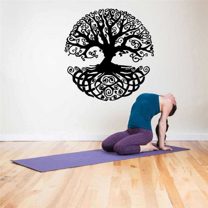 Life Tree Pattern Wall Decal Yoga Studio Branch Tattoo Modern Design Art Mural Plant Wall
