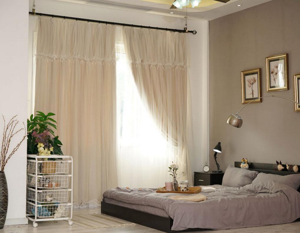 Bed Gordijn 11 : Sunnyrain piece beige dubbellaags gordijn voor woonkamer