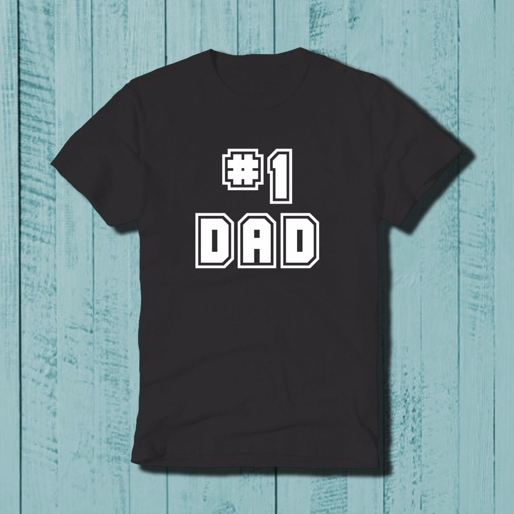 #1 Dad Fathers Day Papa Father Daddy Dad Number One Mens Design T Shirt Men Summer Short Sleeves T Shirt