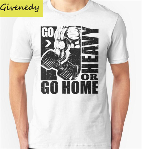 2016 New Summer Design Go Heavy Or Go Home Fitness T Shirt Men Casual  Cotton print Short Sleeve Funny T-shirts lovely top 457c3e498c91
