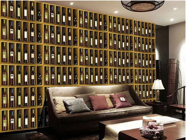 Custom large 3d murals,3D stereo wine bottle bar Papel de parede for the living room sofa wall bedroom wallpaper