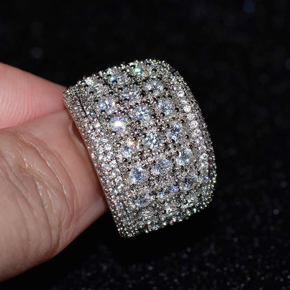 JUNXIN Männlich-weibliche Big AAA Zirkon Stein Ring Luxus Weiß Gold Ring Modeschmuck Vintage Hochzeit Ringe Für Männer Und frauen