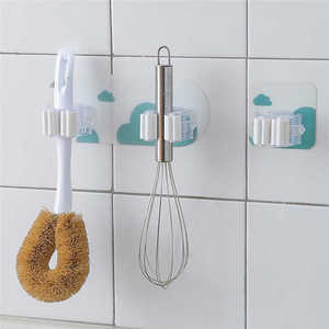 Image 3 - Креативная настенная стойка для хранения в душевой комнате, органайзер для швабры, держатель, щетка для метлы, присоска на стене, вешалка для хранения, кухонная вешалка