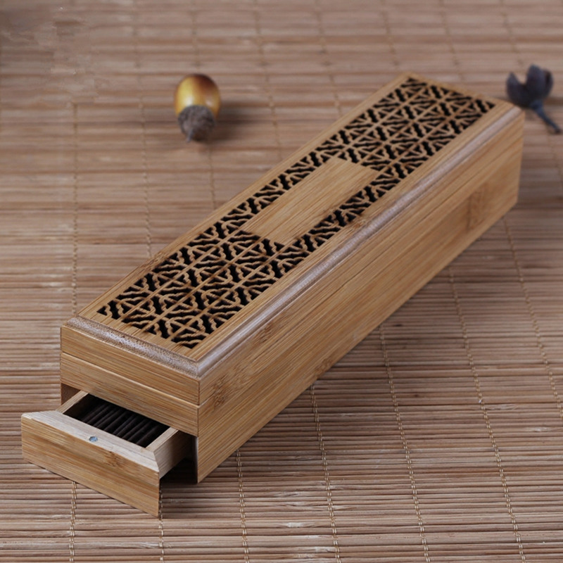 Bamboo Incense Burner with Drawer Zen Joss Stick Cense Storage Box Hollow Wooden Case Box Incenso Sticks Holder Yoga/Home/Temple
