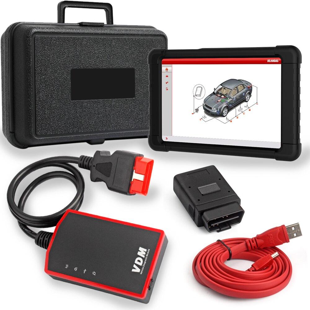 V3.9 VDM UCANDAS Full System Professional Automotive Scanner OBDII ECU ABS SRS SAS de Redefinição de Petróleo Multi-Idioma OBD2 Diagnóstico ferramenta