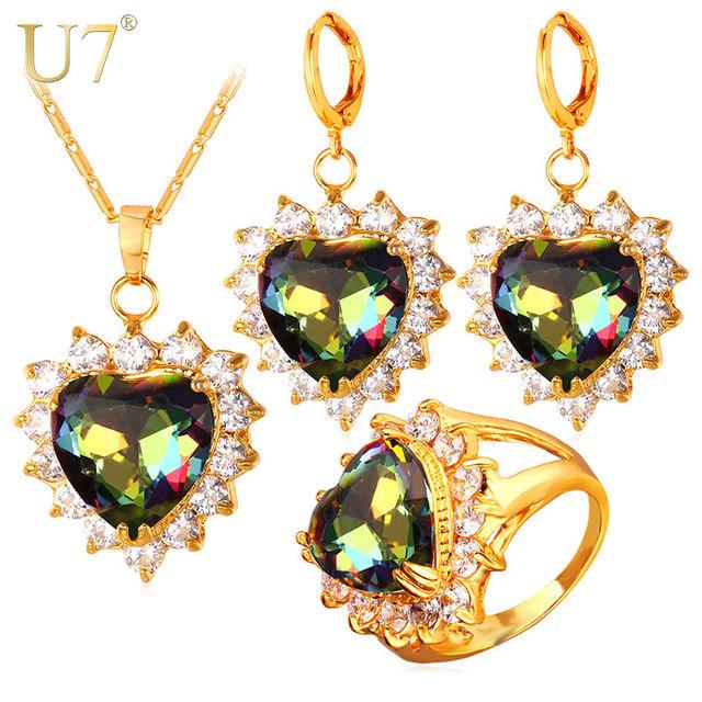 U7 cz coração de cristal anel brincos colar jogo banhado a ouro conjuntos de jóias de casamento do amor romântico presente do dia dos namorados mulheres s729
