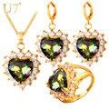U7 cz crystal heart anillo pendientes collar set chapados en oro de amor romántico de la boda set de joyas mujeres regalo del día de san valentín s729