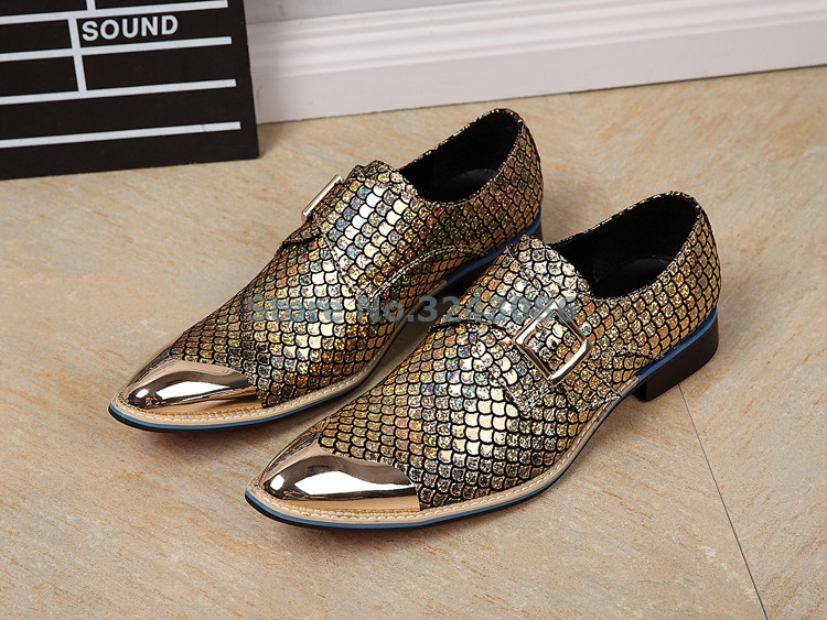 Gold Silver Metallic Colors Fashion Shoes Metal Pointed Toe Buckle Strap Oxfords Shoes Snakeskin Business Party Mens Shoes Gold Silver Metallic Colors Fashion Shoes Metal Pointed Toe Buckle Strap Oxfords Shoes Snakeskin Business Party Mens Shoes