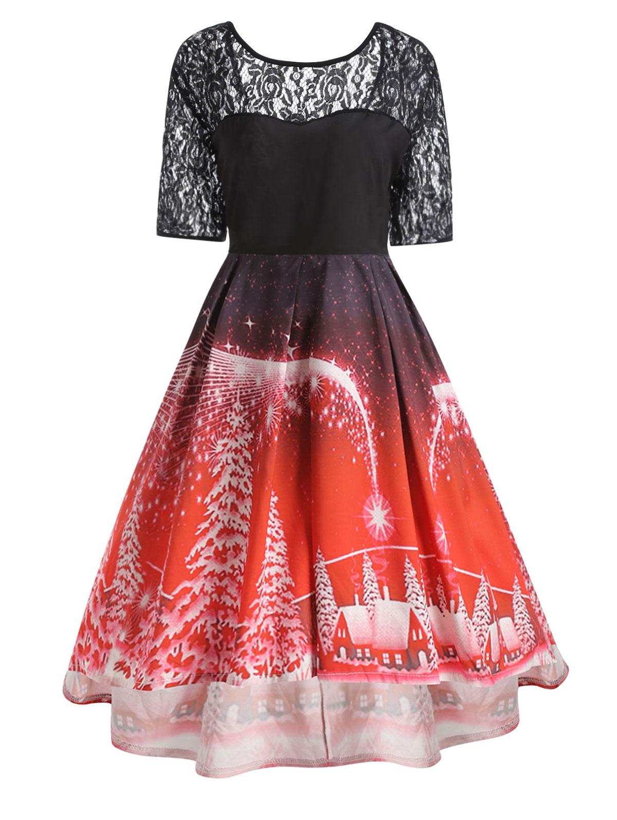 d06cdd7934 US $15.69 45% OFF|Wipalo Christmas Party Lace Panel Dress Plus Size XL 5XL  Rockabily Vintage Princess Dress Women Autumn Cute Robes Femme Vestidos-in  ...