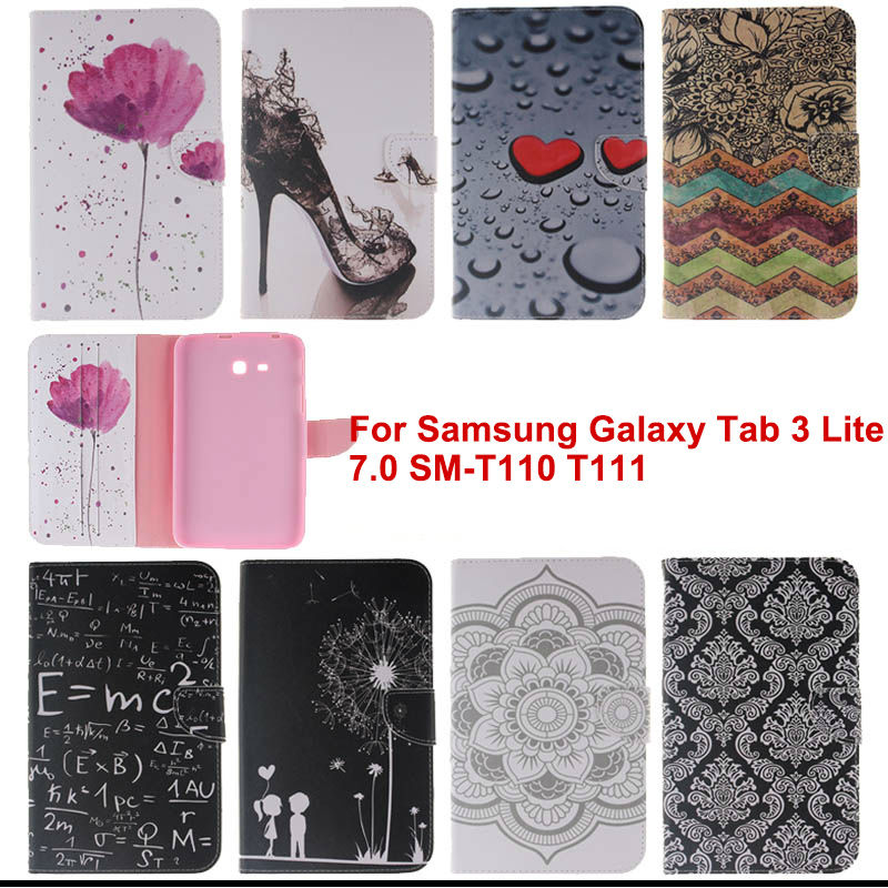 Fashion Flip PU Leather Case cover for Samsung Galaxy Tab 3 lite 7.0 T110 T111 T113 T116 Tablet cases with card slot tx flip pu leather with soft tpu back cover card holder case for samsung galaxy tab 3 8 0 inch t310 t311 t315 tablet cases
