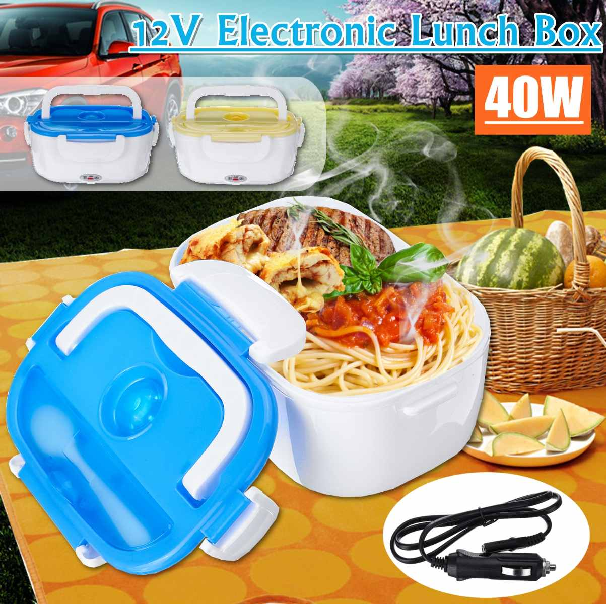 Portable Lunch Box Food Container Electric Heating Food Warmer Heater Rice Container Dinnerware Sets 12 V/40W