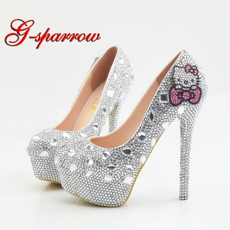 Big Size 14cm High Heel Crystal Shoes with Pink Rhinestone Wedding Party Shoes Lady Formal Dress
