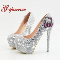 Big Size 14cm High Heel Crystal Shoes with Pink Hello Kitty Rhinestone Wedding Party Shoes Lady Formal Dress Shoes Size 11 12